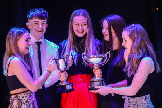 Neve Strachan, Oliver Bruce, Hannah Davidson, Laura Gourlay and Grace Rohde of Kanzan Karate, who won Club of the Year 12 months ago.