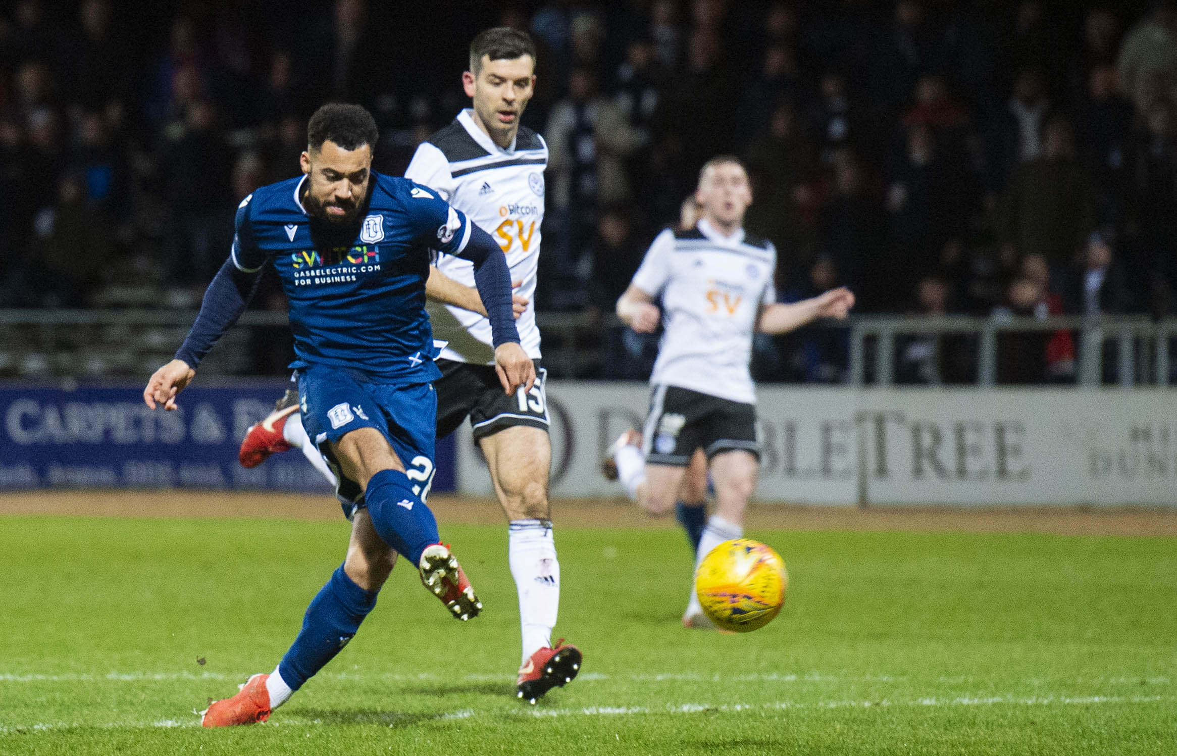 Kane Hemmings strikes to give Dundee the lead against Ayr.
