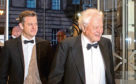 Sir David Attenborough (right) arrives with Matt Baker for the Hunter Foundation dinner event at the National Museum of Scotland.