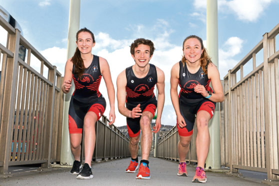 Picture shows Aaron with, left, Emma Deans and Anja Powell.