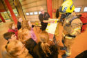 The P6 pupils from Ardler Primary School, during their visit to the Macalpine Fire Station today.