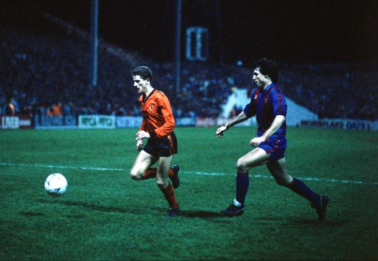 Kevin Gallacher pictured during first leg against Barcelona