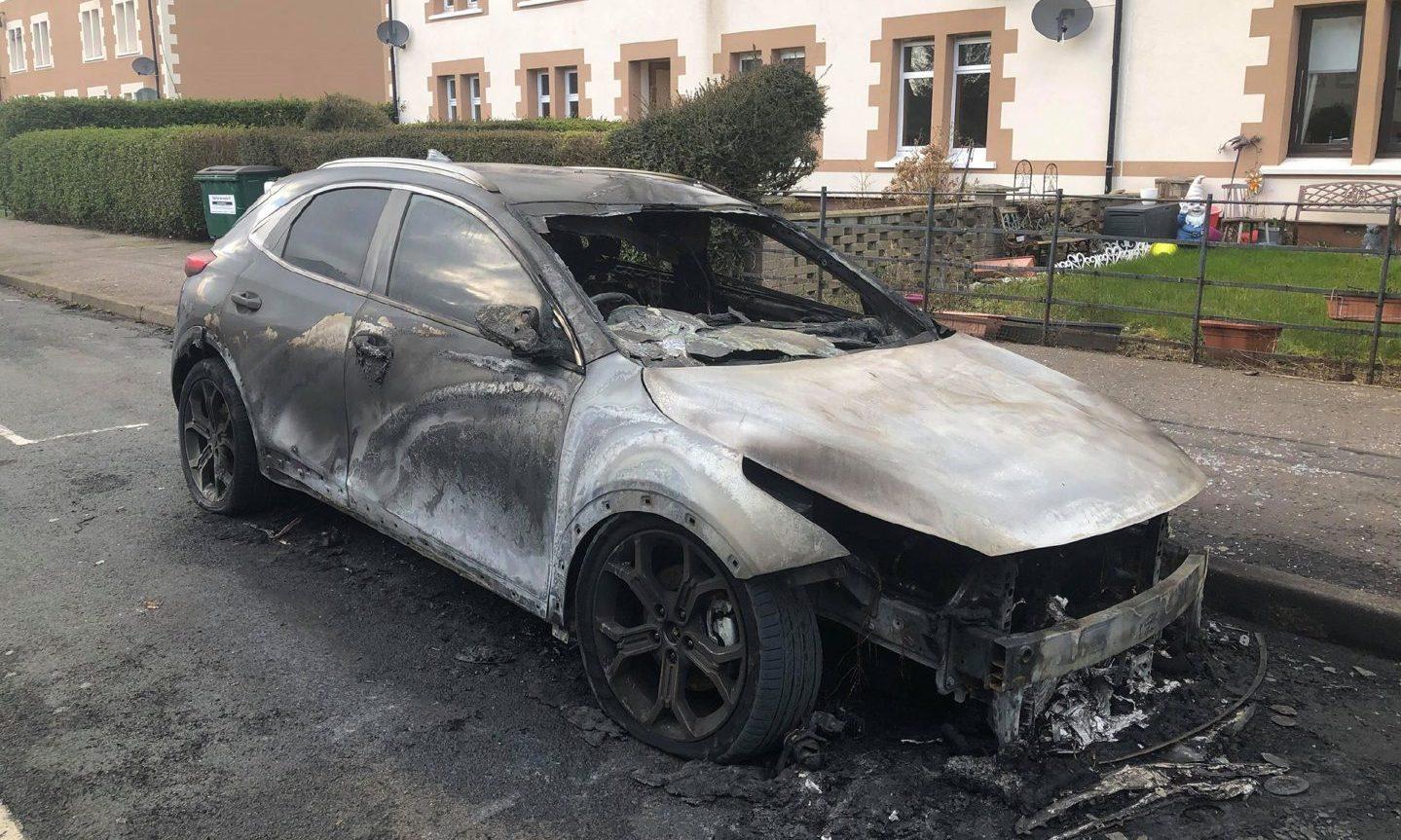 Car destroyed on Strathmore Street.