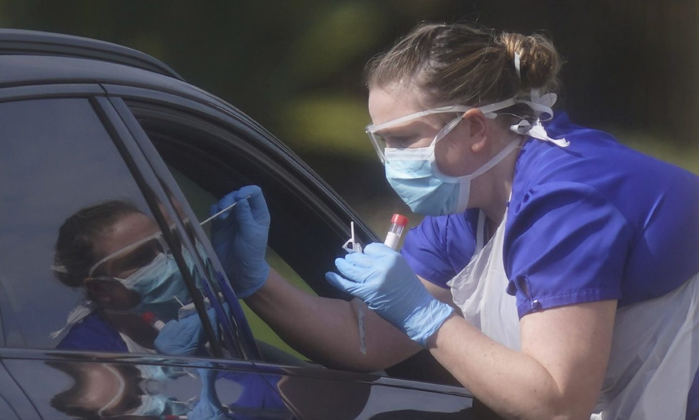 An NHS worker being tested for coronavirus.
