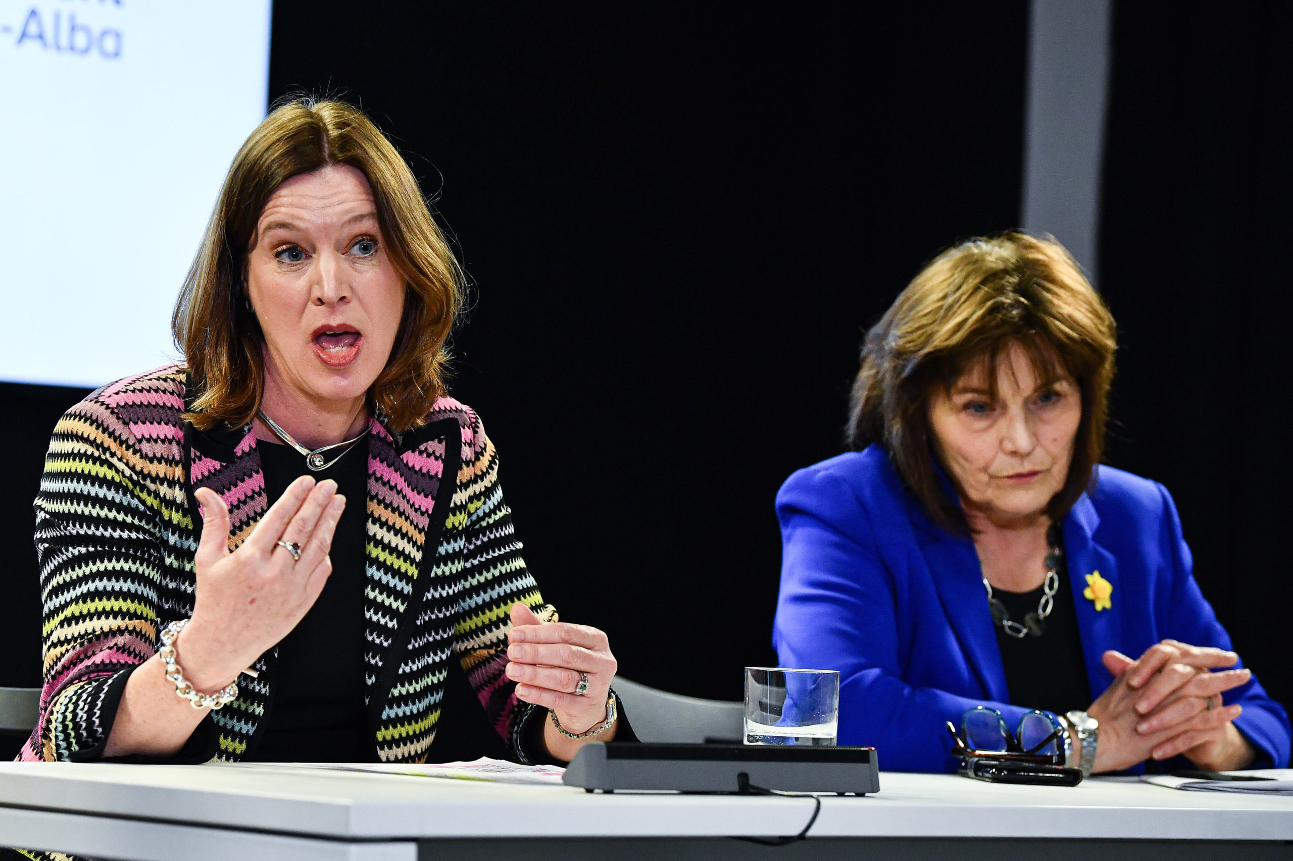 Chief Medical Officer Dr Catherine Calderwood and Health Secretary Jeane Freeman speaking at a news conference in Edinburgh.