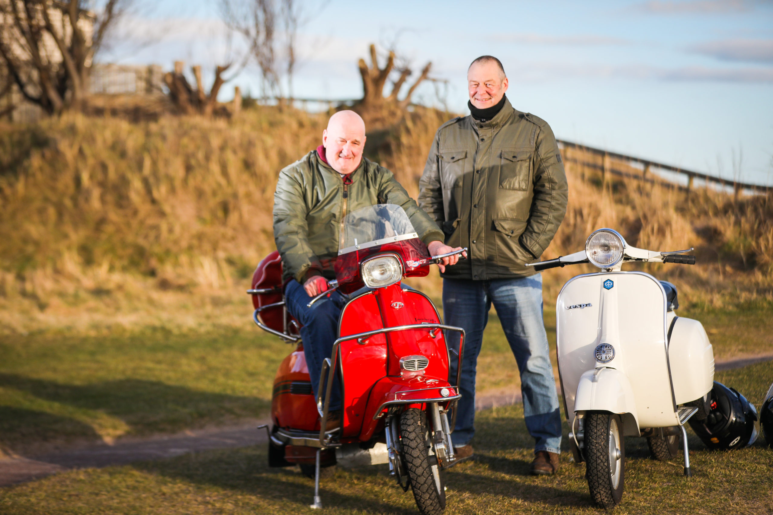 Ronnie McCleary and Steven Wilson with their bikes ahead of March of the Mods.