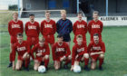 Lochee United FC team photo from 1990.  Back row, from left: J. Conway, Wilson, E. Conway, Mann, Geddes, Ogg Front - Traynor, Bell, Aiken, McAllister, Pollock.
