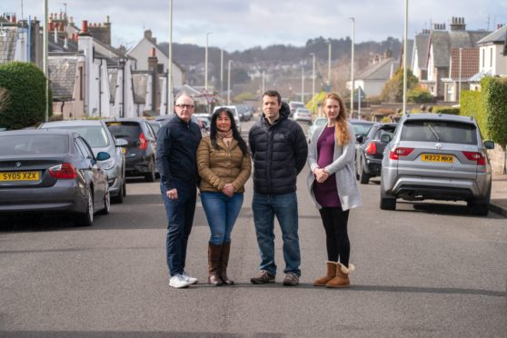 From left: Derek Welch, Maria Welch, Richard Bowles and Julie-Ann Geddes on the street the buses will use.