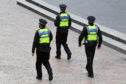 GLASGOW, SCOTLAND - MARCH 26: Police patrol the streets of Glasgow during the ongoing Coronavirus outbreak, on March 26, 2020, in Glasgow, Scotland. (Photo by Alan Harvey / SNS Group)