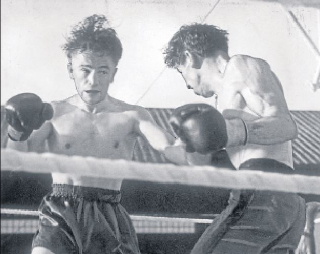 Dundee boxer Freddie Tennant (left) during a bout at Dens Park in June 1949.