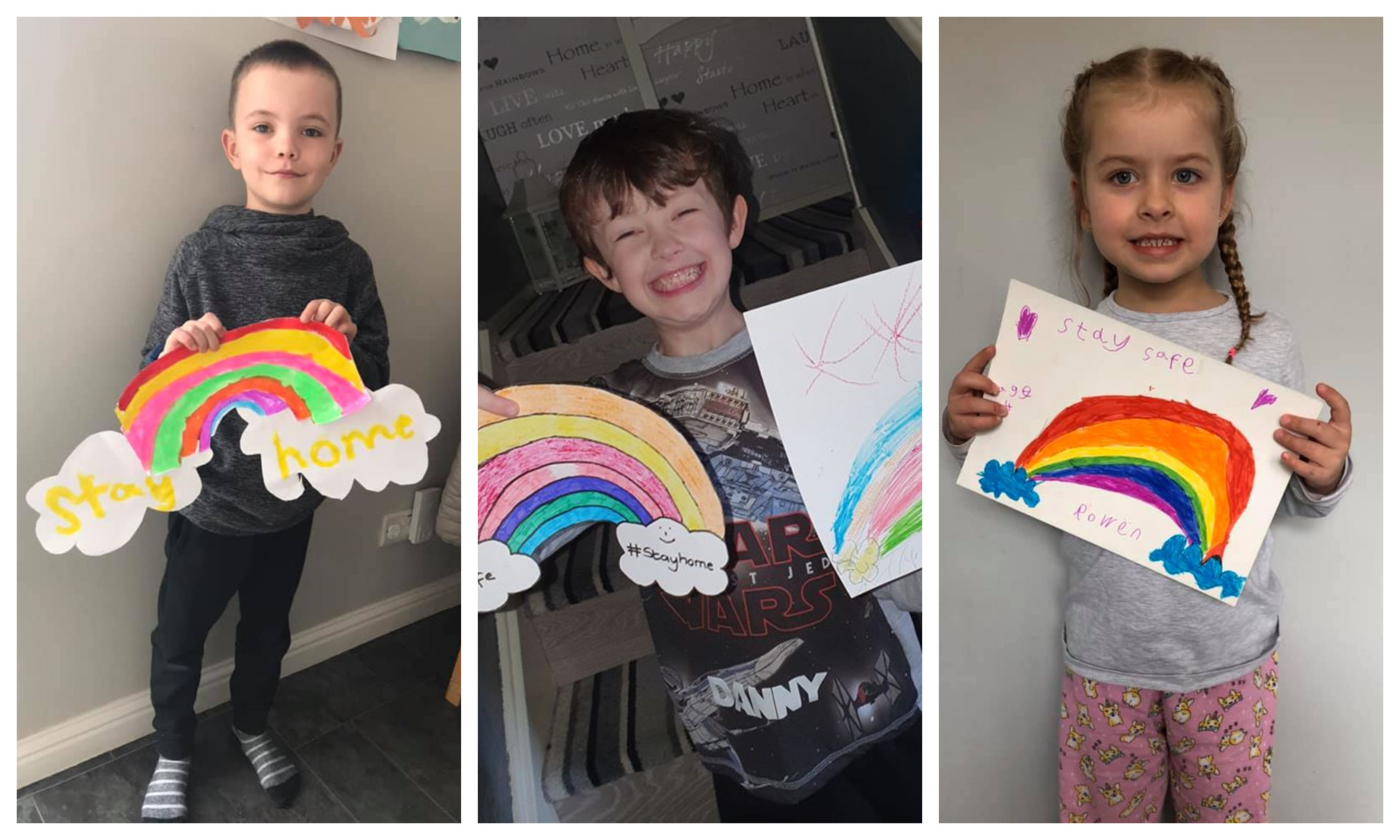 Some of the youngsters with their drawings.