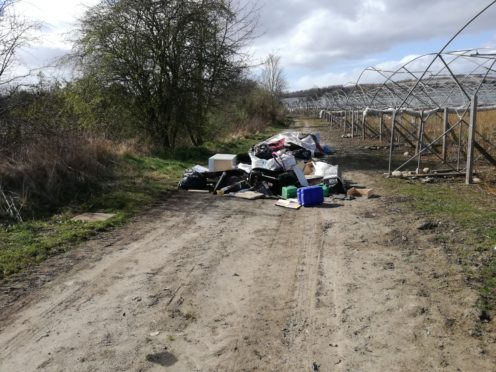 Waste dumped at a fruit farm in Blairgowrie, Perthshire.