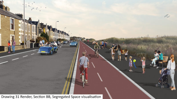 A mock-up of how a segregated cycle path in Broughty Ferry could look.