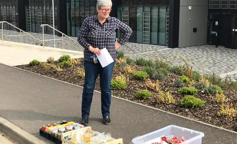Rev Anne Stott has been handing out food to residents in Bertha Park, where there are no shops