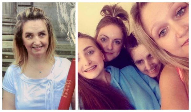 Jennifer and her two sisters with their mum Fiona, also pictured left.