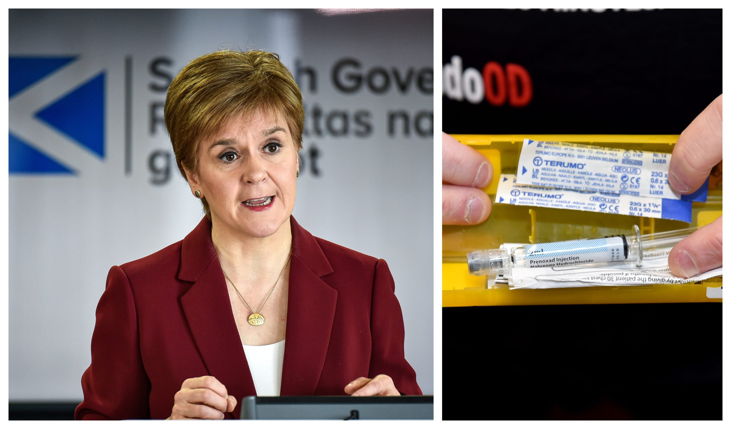 First Minister Nicola Sturgeon, left, and a Naloxone kit, right.