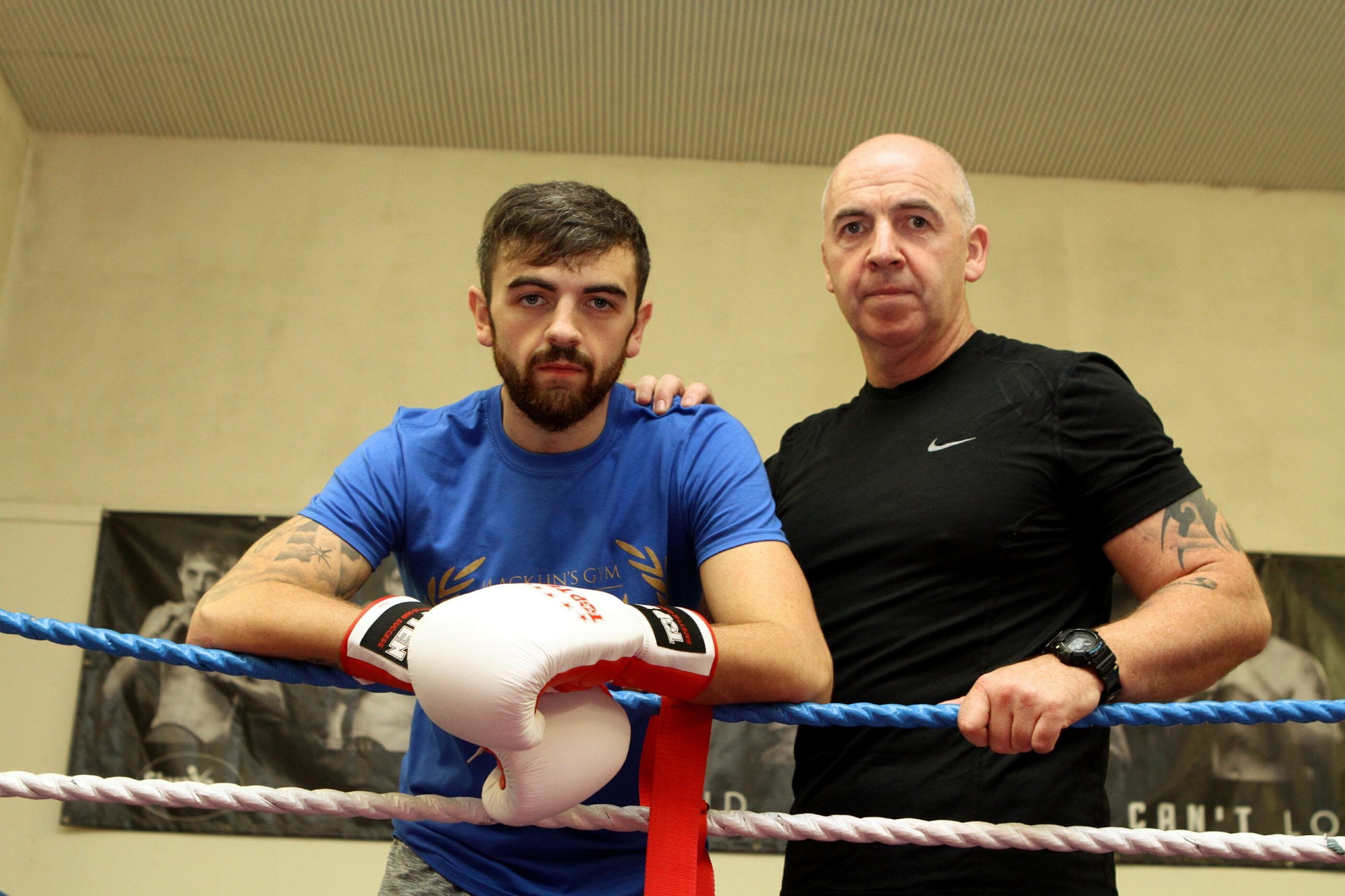Boxing coach Paul Kean Senior and his son, professional boxer Paul Kean Jr, have been running online classes for their regular gym patrons.  (Picture: DCT Media/ Dougie Nicolson)