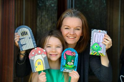 Tayside artist Gill Hastie has created a fairy door trail for local children with the help of daughter Breagha. (Picture: DCT Media/ Gareth Jennings)