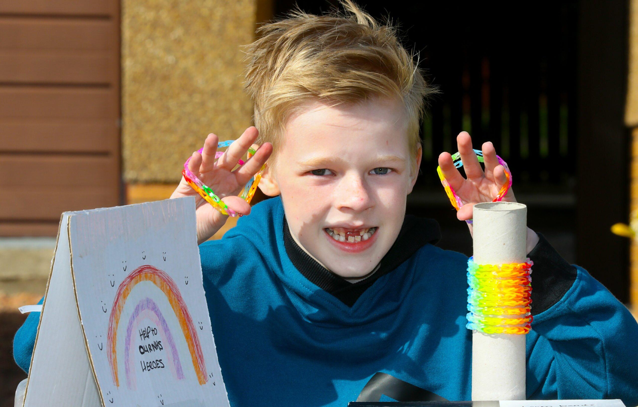 Lucas Dixon from Monifieth has been making Loom Bands.