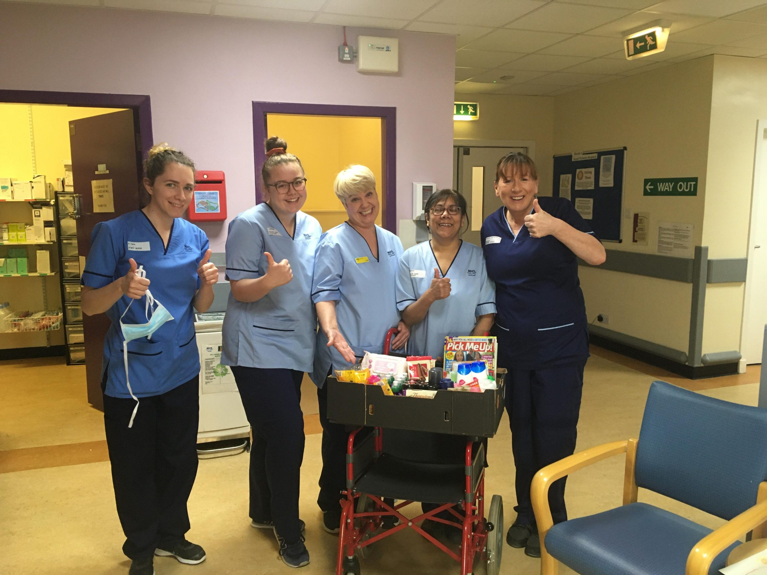 Staff at Royal Victoria Hospital received donations from Home Bargains on the Kingsway