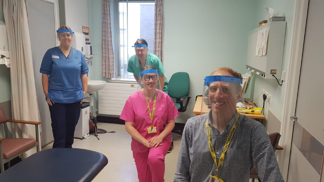 Orthopaedic staff at Ninewells Hospital have been given visors made by school staff in Angus