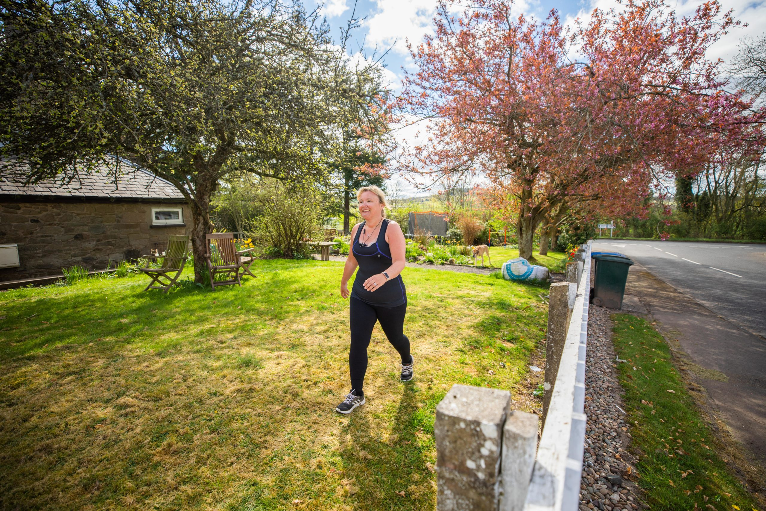 Val Gill virtually walking to John O'Groats to raise money for SCAA by walking on a treadmill, round her garden and near her house during the lockdown.