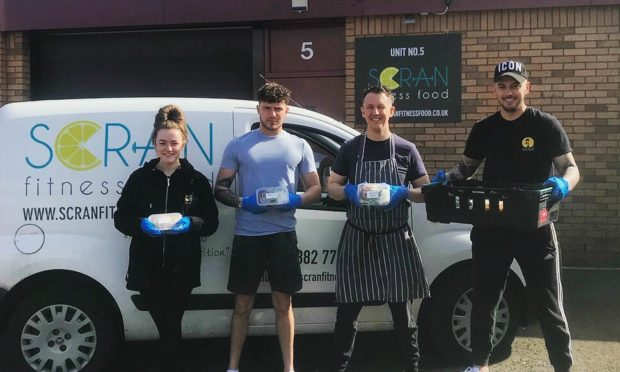 Scran Fitness Food has donated meals to families in need at Camperdown Primary School, pictured from left is Regan Bruce - Andrew Thomson - David Richards - Jason Myles
