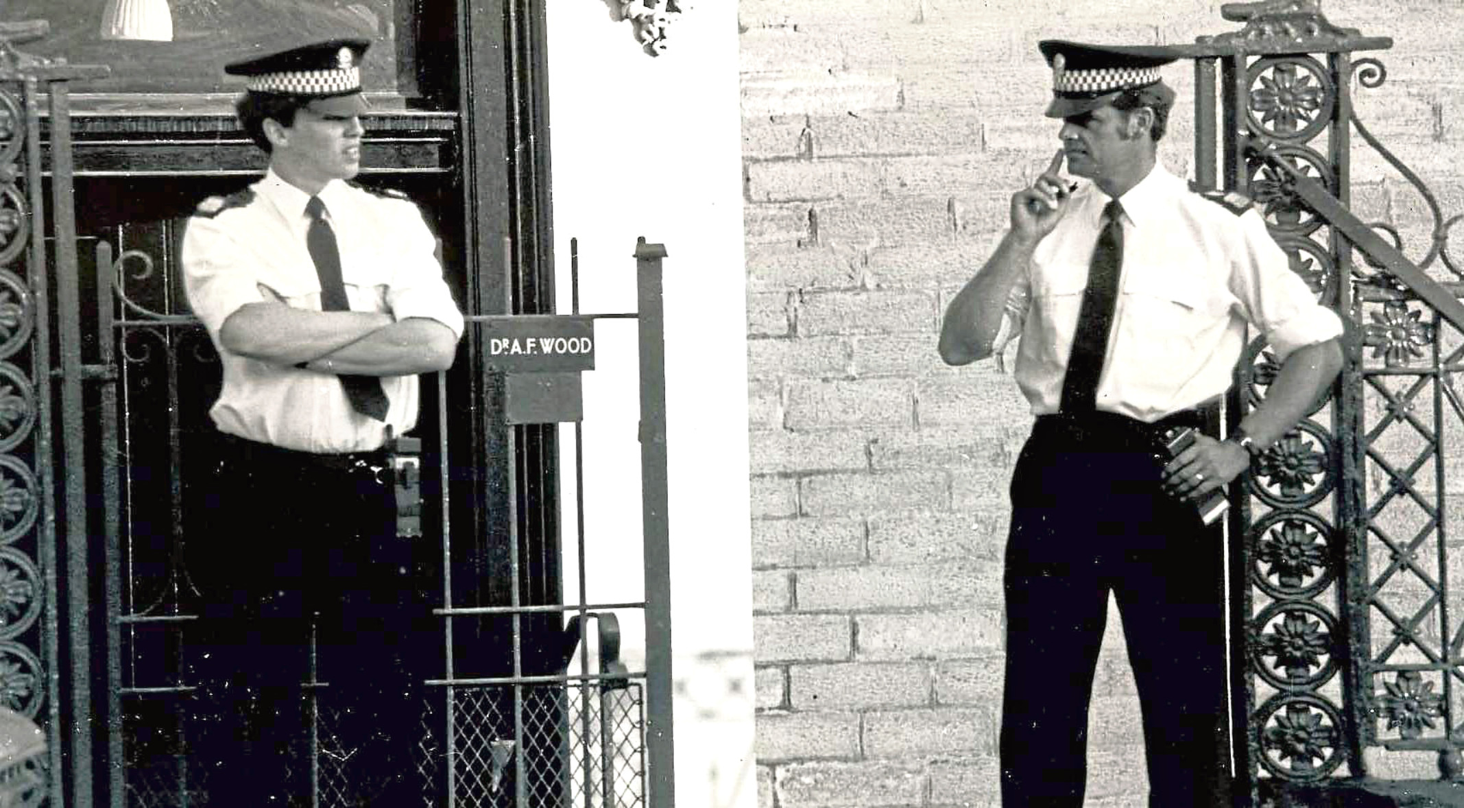 Police outside the murder scene.