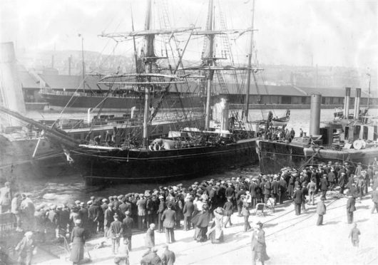 A ship from Dundee sets sail.