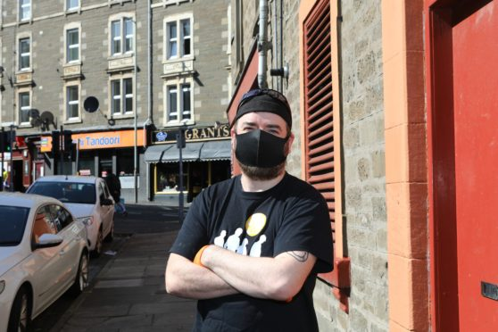 Brian McLeod in Blackness Street in Dundee.