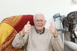 88 year old Brian Valentine at home in Carnoustie.