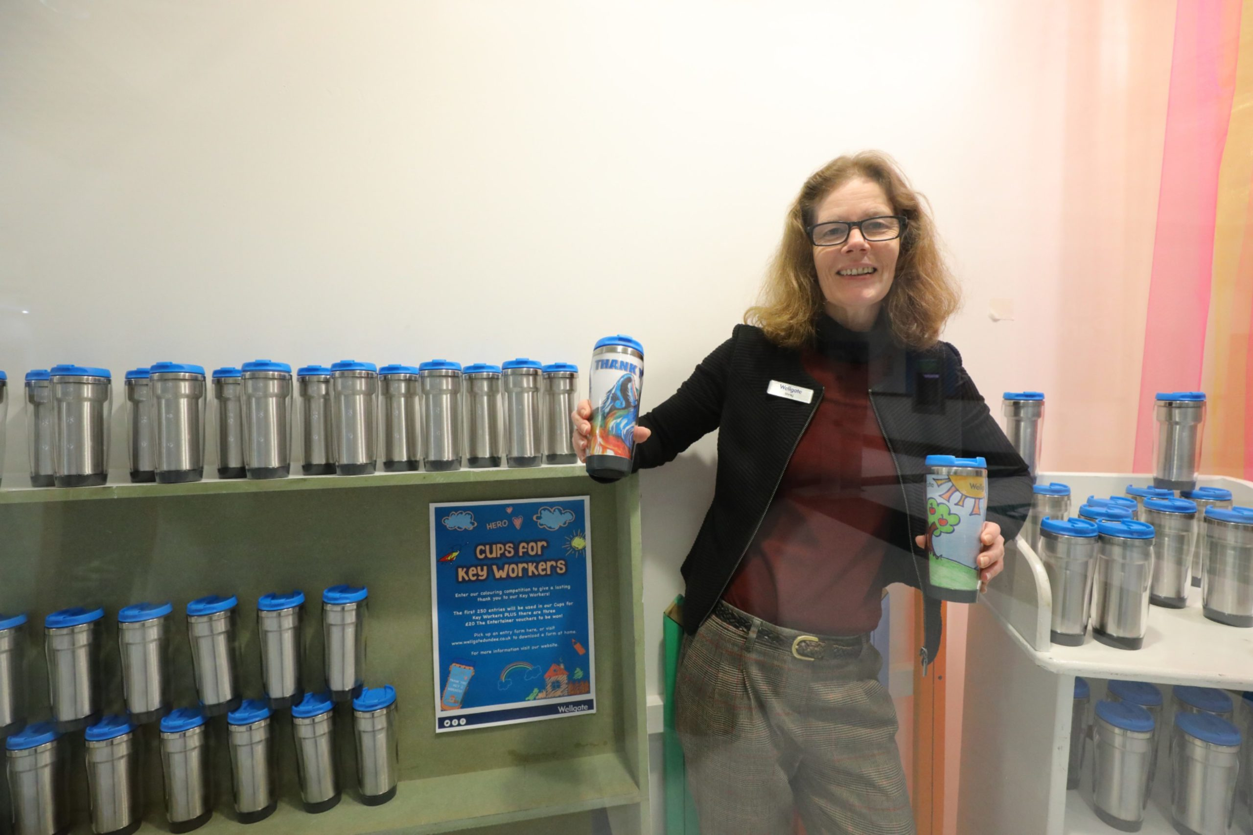 Centre manager, Morag Dennis with the reusable mugs for key workers, which will be designed by school children. (Picture: Dougie Nicolson / DCT Media.)
