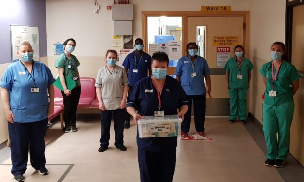 Nurses at Ninewells with one of the Essential Boxes