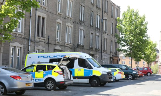 Police parked in Dundonald Street earlier this year.