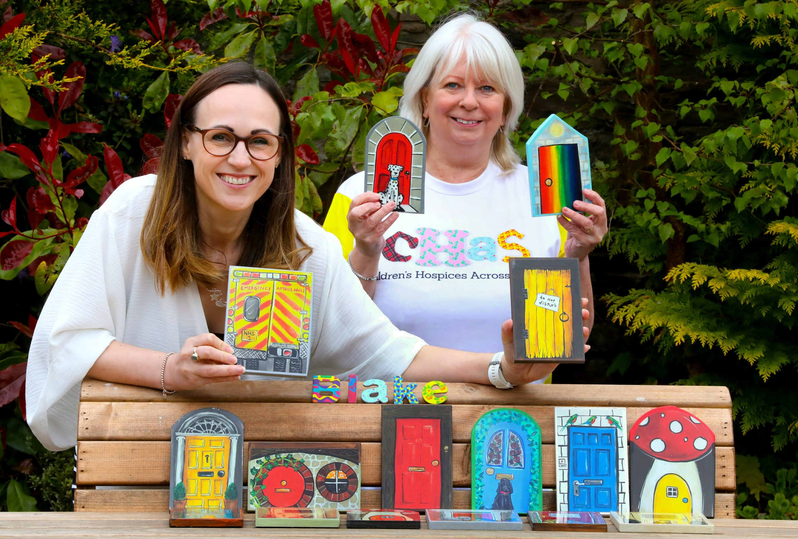 Jenny Howe and Pam Rodgers with the Carnoustie Fairy Doors which are being sold in aid of CHAS.