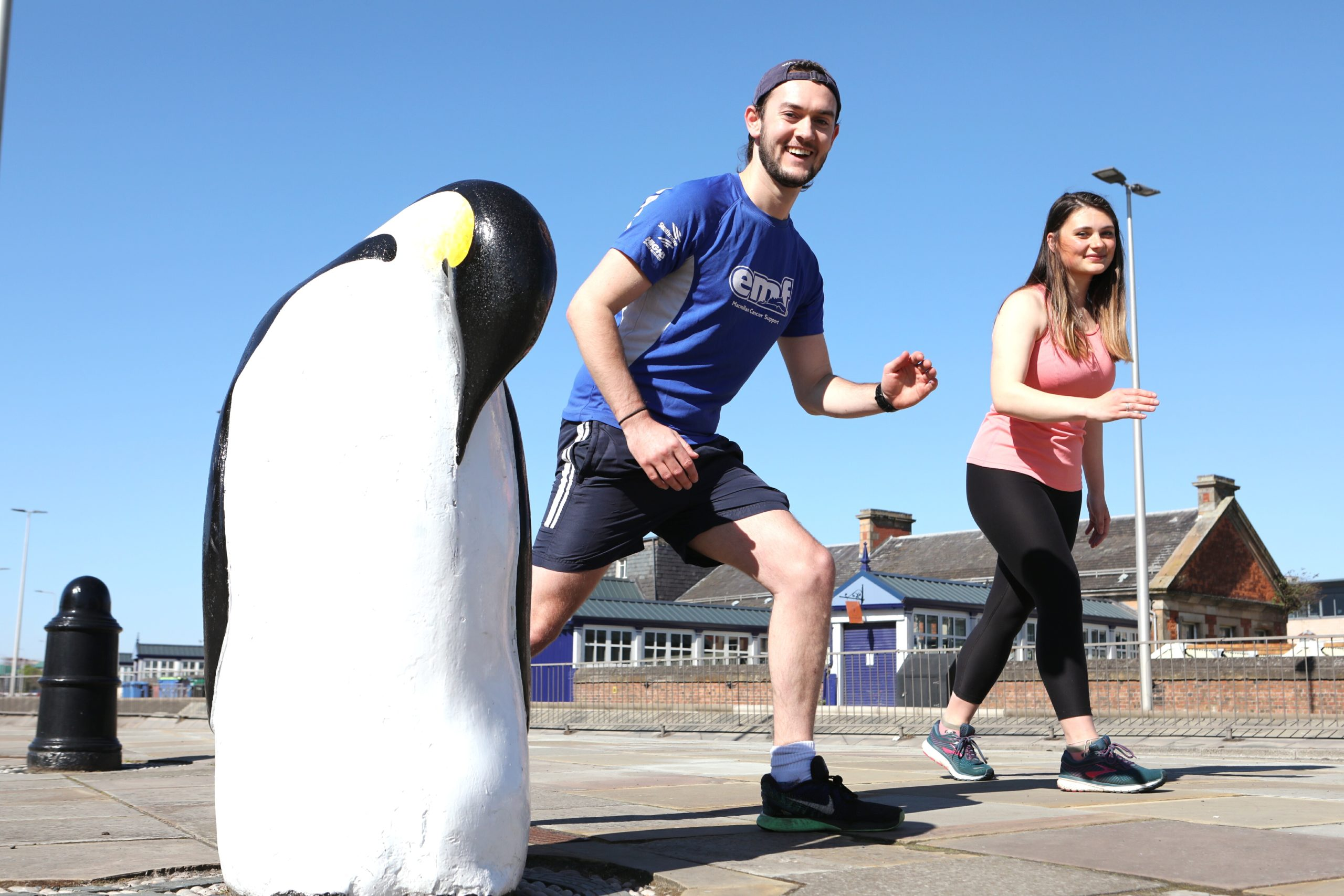 Freya Anderson and Sam Donnelly are among the students who are walking, running or cycling the distance between Dundee and the South Pole to raise money for Age Scotland. (Picture: Gareth Jennings/ DCT Media)