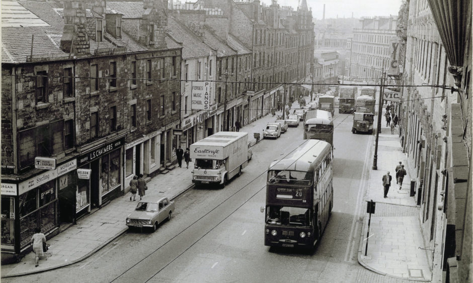 One of the main arteries of the city's one-way traffic system that is Victoria Road, formerly known as Bucklemaker Wynd.