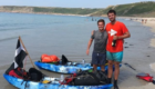 Jack, left, with his friend Raf, right, following their trip from London to Cornwall.
