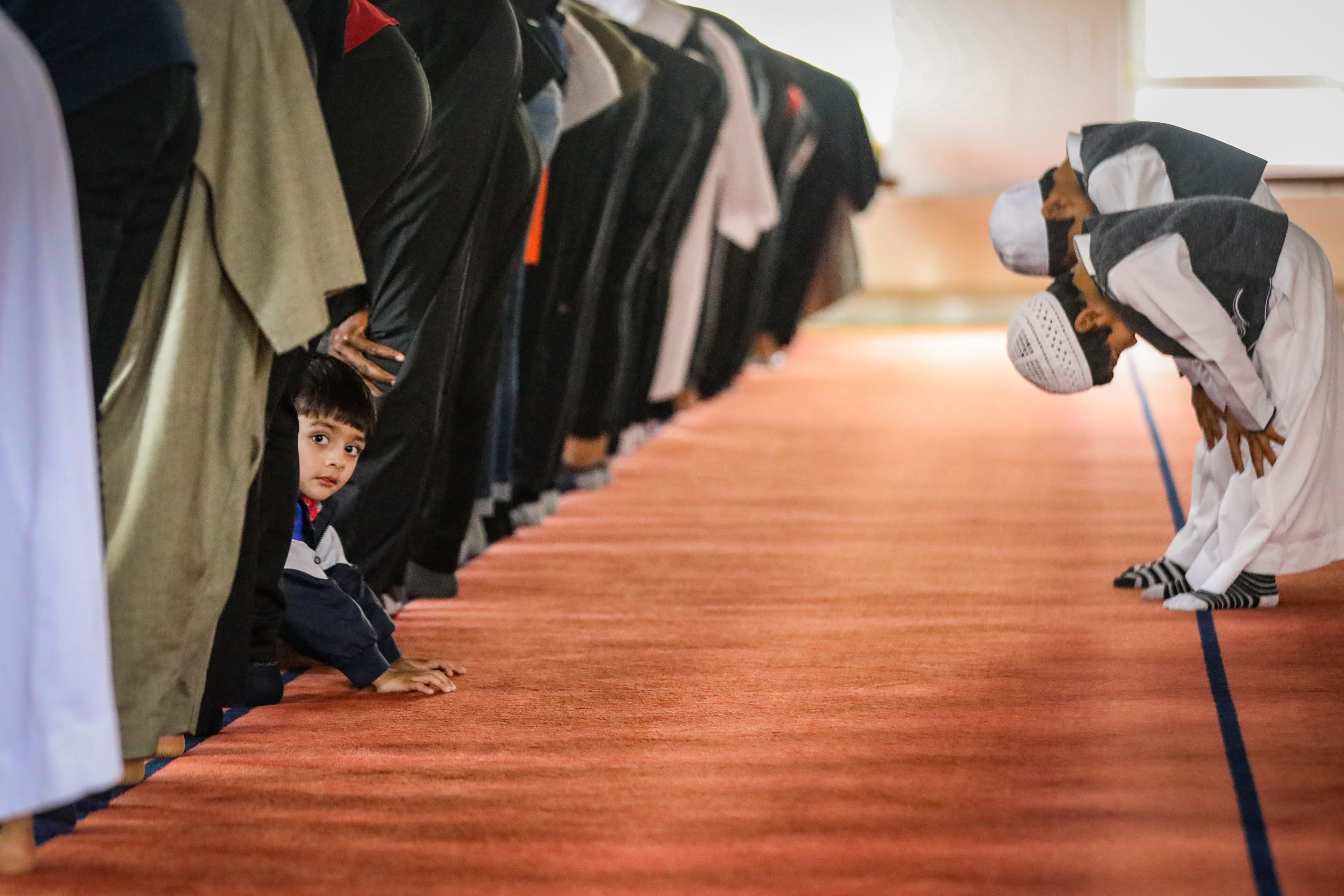 Muslims at prayer in Dundee Central Mosque.