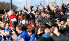 Kris Miller, Courier, 16/05/15. Montrose V Brora, fans celebrate as Montrose score their third goal to secure league status.