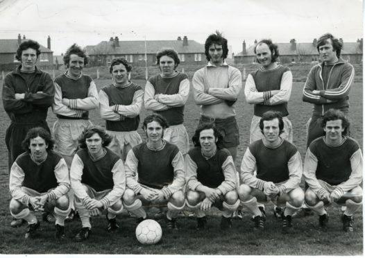 Osborne FC team photo.  Back (L to R) - Mathers, Love, MacKay, Brown, Nicoll, Milne, McMillan. Front - Reilly, Ritchie, Jamieson, Sleway, Murphy, McKenzie.  16/5/1973.