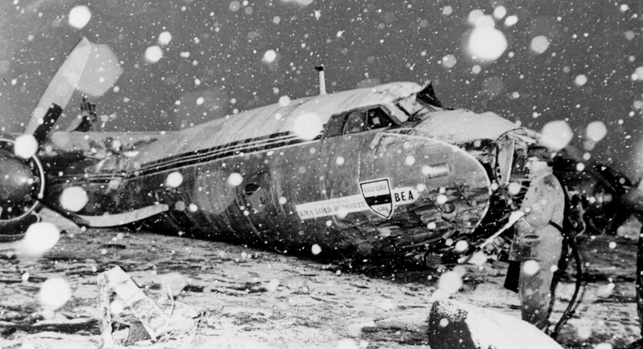 The wreckage of the British European Airways plane which crashed in Munich on February 6, 1958, while bringing home members of the Manchester United football team from a European Cup match.