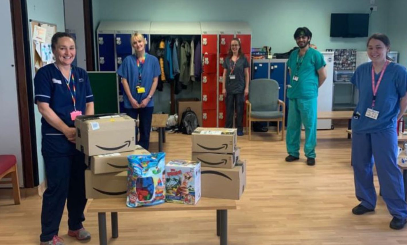 Staff at the Tayside Children's Hospital with just some of the donations they have received.