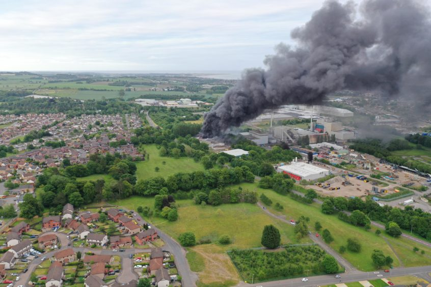 An aerial shot of the fire at Baldovie Industrial Estate.