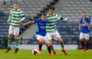 Rangers' Kai Kennedy holds off Celtic's Barry Coffey in Youth Cup Final last April