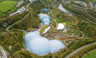 An aerial view of the Eden Project in Cornwall.