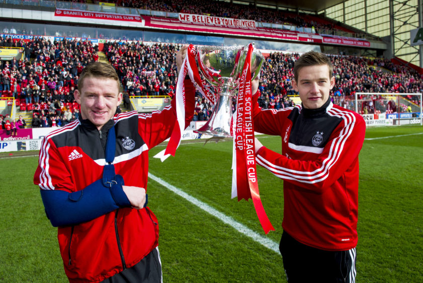Hayes and Peter Pawlett - now at Dundee United - parade League Cup before match in 2014