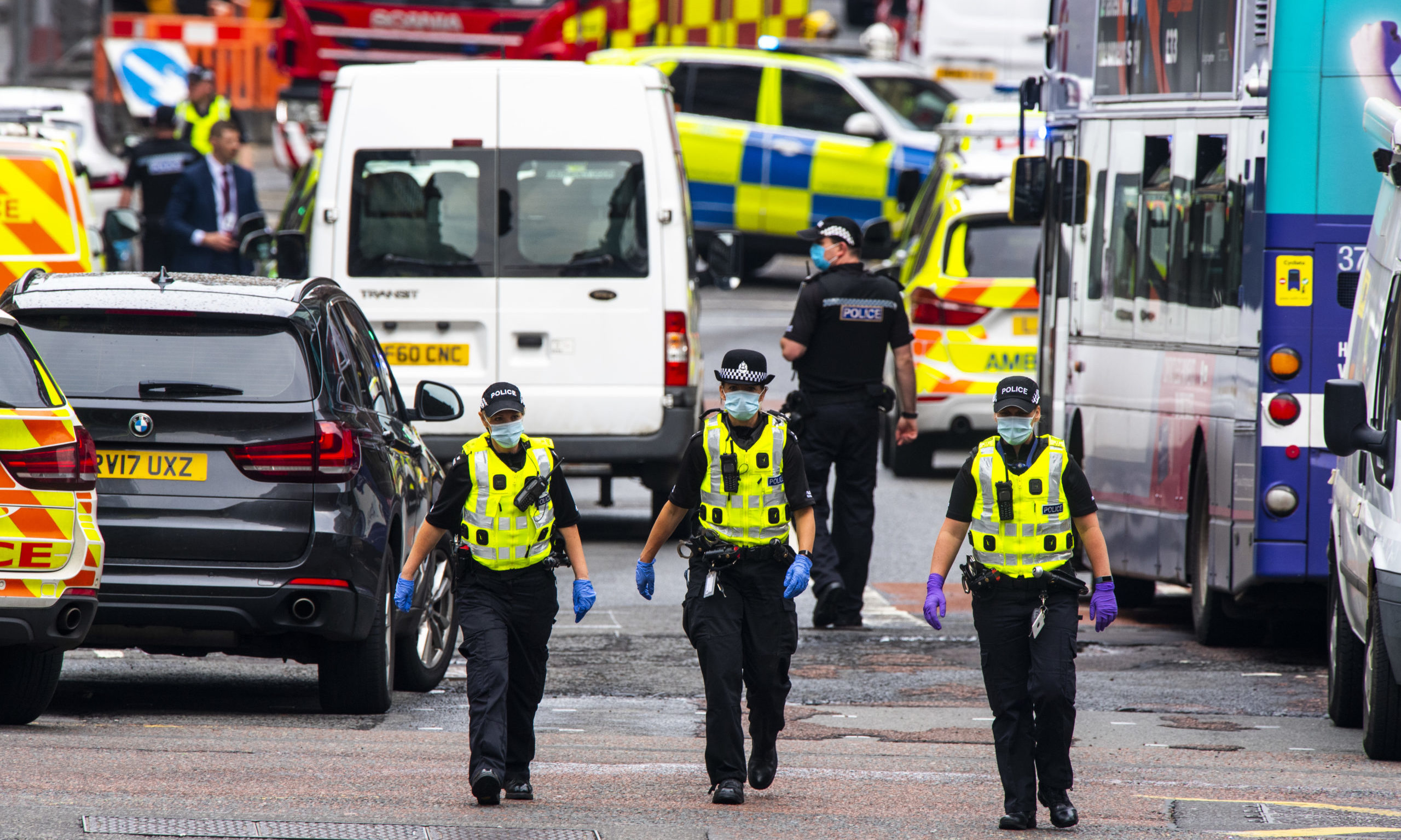 Police respond to a major incident on West George Street on June 26, 2020,  in Glasgow, Scotland.
