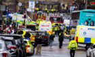 GLASGOW, SCOTLAND - Police respond to a major incident on West George Street on June 26, 2020,  in Glasgow, Scotland.