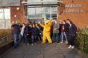 The Dundee Carers Team with Pudsey the Bear, outside the Ardler Complex.
